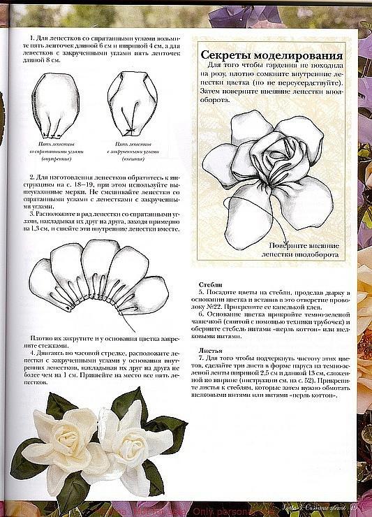 Схема для атласных лент цветы