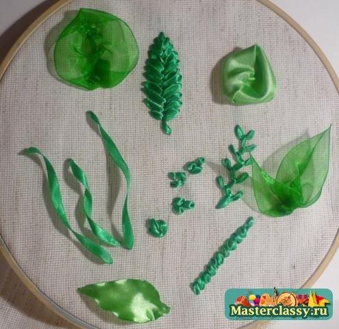 Листья из ленты пошагово для начинающих