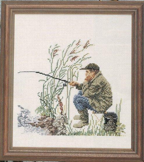 схема вышивки картины рыбак