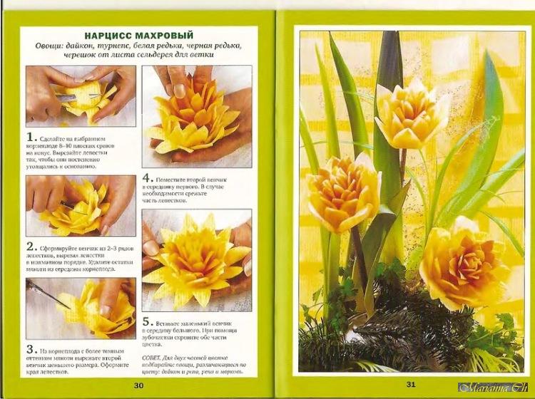 планируете как вырезать цветы из овощей пошив