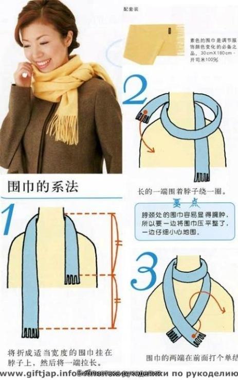 Как завязывать шарфы и платки на шее пошаговое