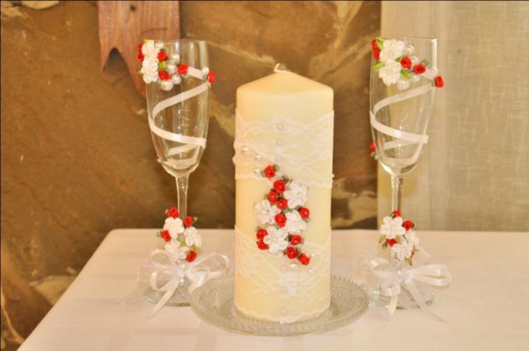 Фото украшения бокалов на свадьбу