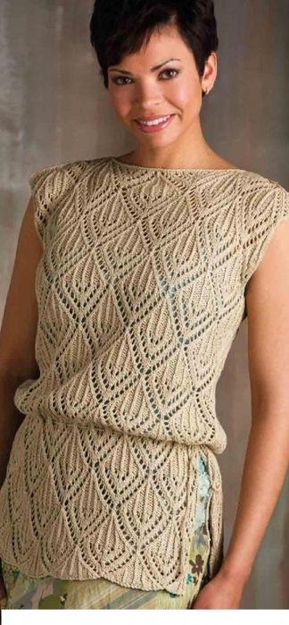 Ажурные летние туники вязание спицами