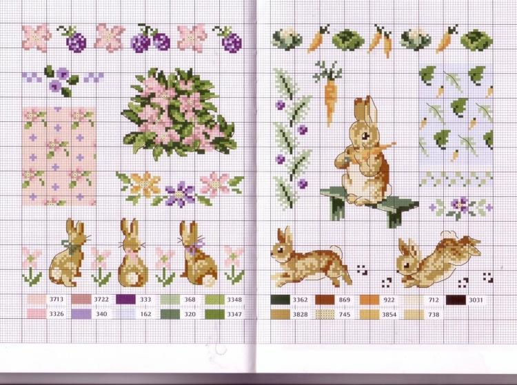 Схемы для вышивки крестом зайцев-кроликов