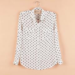 Белая Блузка В Черный Горошек Купить