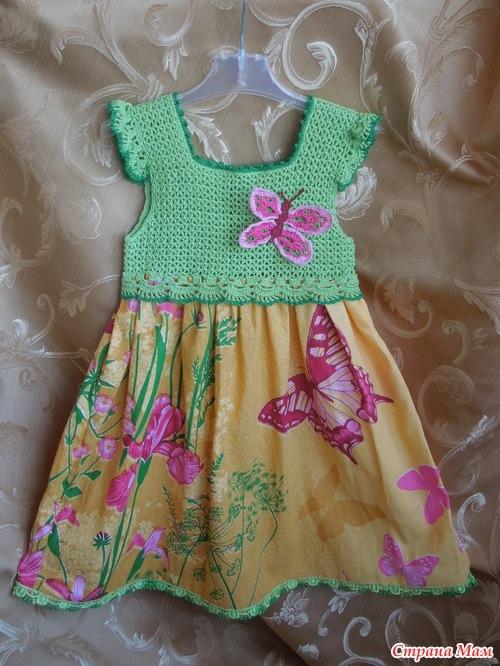 Комбинированные платья вязание крючком и ткань для девочек 57
